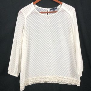 Eclair | Sheer White Crew Neck Tunic Top